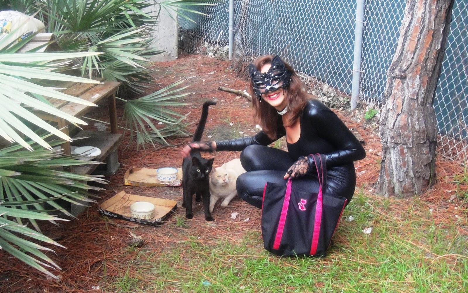 Christine in costume squatting with Leroy, LK-rev