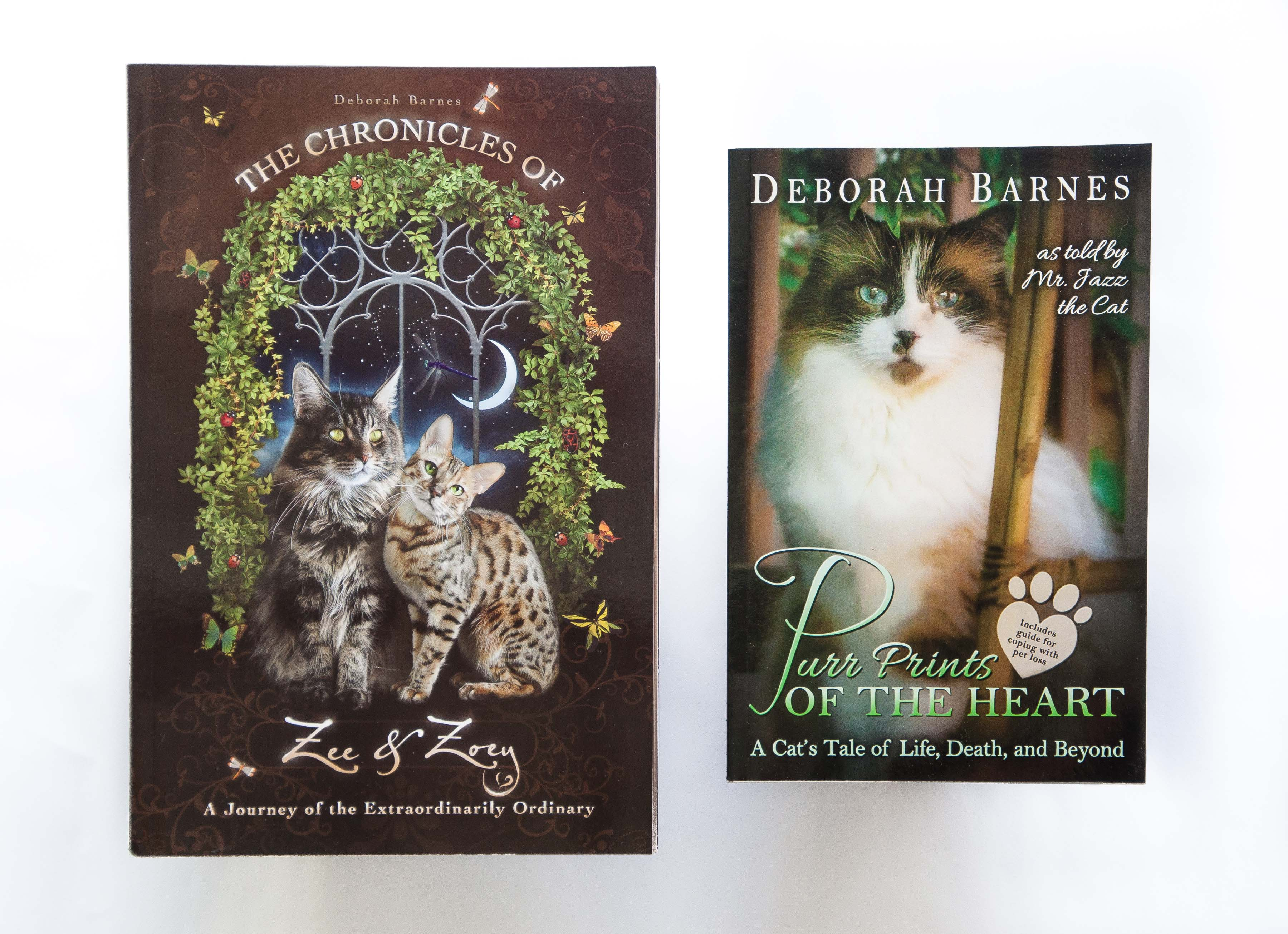 Books by Deborah Barnes for cat lovers - The Chronicles of Zee & Zoey and Purr Prints of the Heart