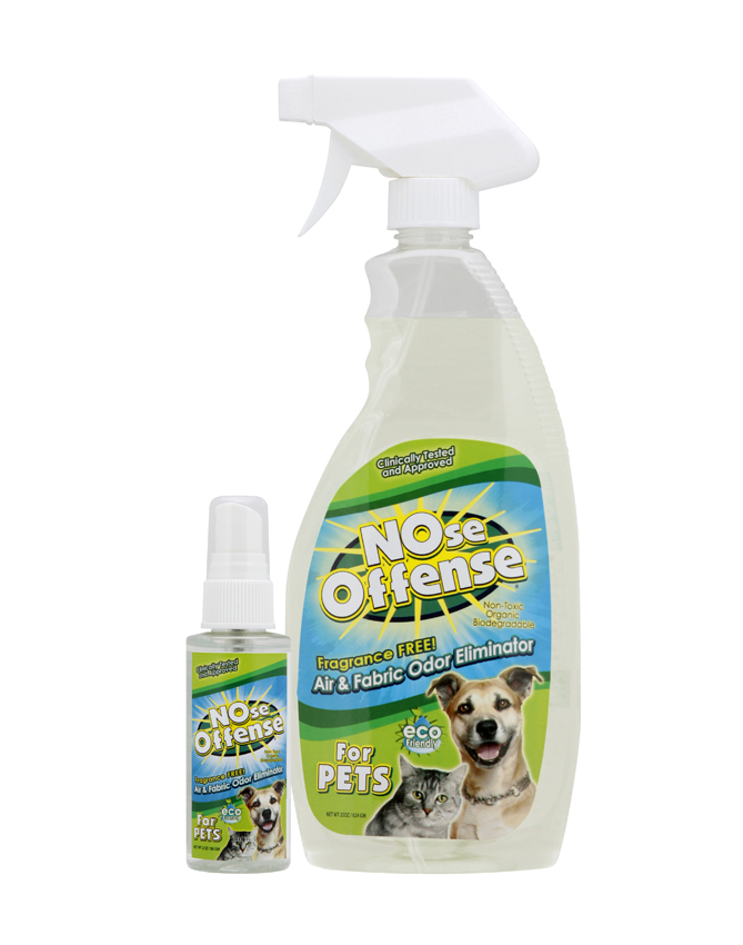 NOse Offense For PETS comes in a convenient spray bottle to eliminate pet odors.